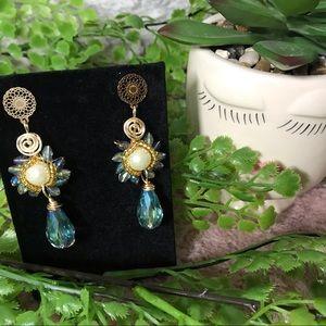 HANDMADE Light Blue  Crystal Earring Gold Plated